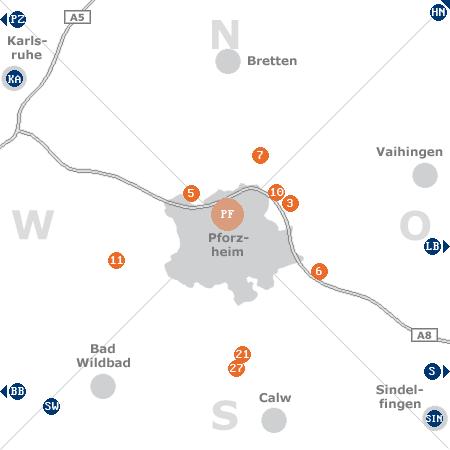 Karte mit Pensionen und anderen Unterkünften rund um Pforzheim