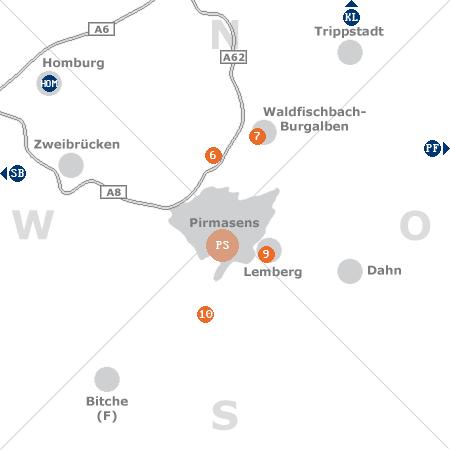 Karte mit Pensionen und anderen Unterkünften rund um Pirmasens