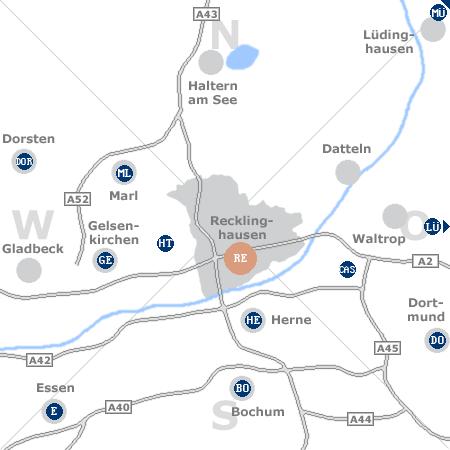 Karte mit Pensionen und anderen Unterkünften rund um Recklinghausen