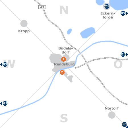Karte mit Pensionen und anderen Unterkünften rund um Rendsburg