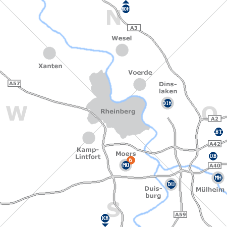 Karte mit Pensionen und anderen Unterkünften rund um Rheinberg