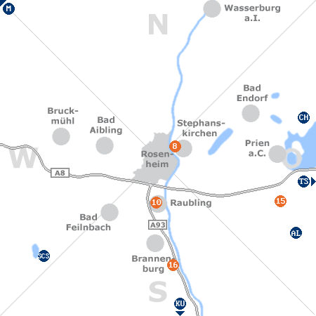 Karte mit Pensionen und anderen Unterkünften rund um Rosenheim