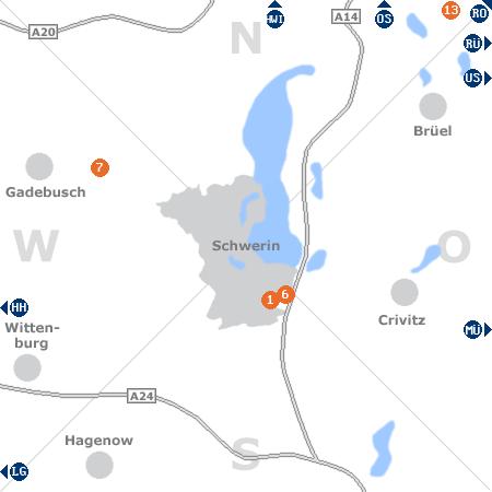 Karte mit Pensionen und anderen Unterkünften rund um Schwerin