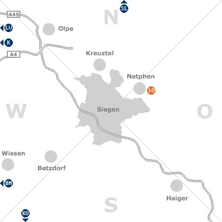 Karte mit Pensionen und anderen Unterkünften rund um Siegen