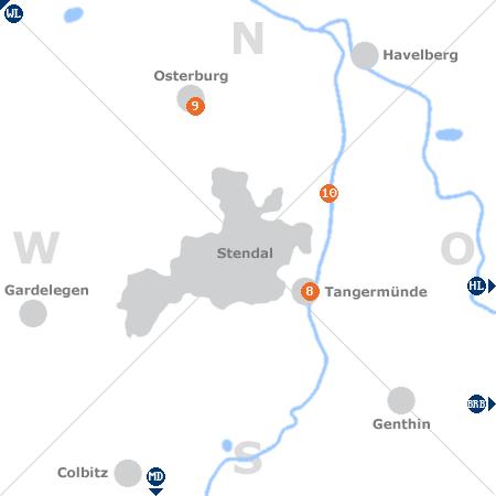 Karte mit Pensionen und anderen Unterkünften rund um Stendal