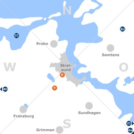 Karte mit Pensionen und anderen Unterkünften rund um Stralsund