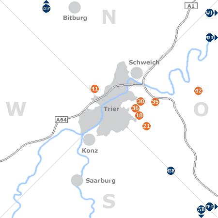 Karte mit Pensionen und anderen Unterkünften rund um Trier