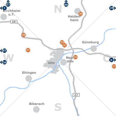 Karte mit Pensionen und anderen Unterkünften rund um Ulm