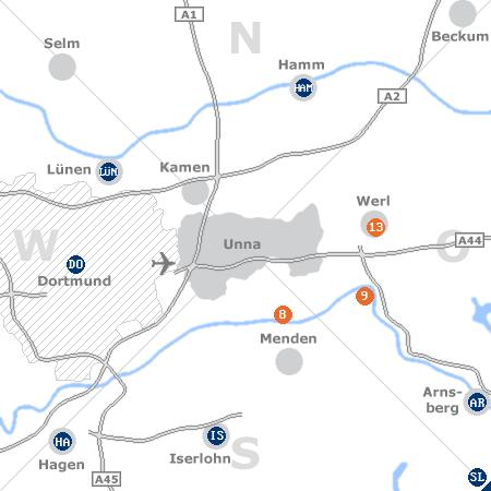 Karte mit Pensionen und anderen Unterkünften rund um Unna