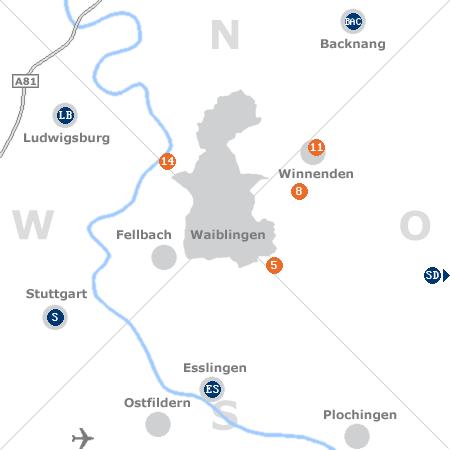 Karte mit Pensionen und anderen Unterkünften rund um Waiblingen
