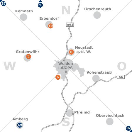 Karte mit Pensionen und anderen Unterkünften rund um Weiden in der Oberpfalz