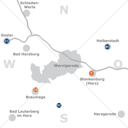 Karte mit Pensionen und anderen Unterkünften rund um Wernigerode