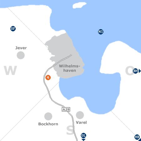 Karte mit Pensionen und anderen Unterkünften rund um Wilhelmshaven