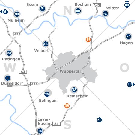 Karte mit Pensionen und anderen Unterkünften rund um Wuppertal