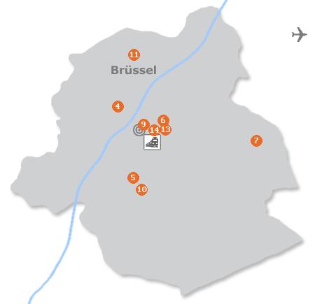 Karte mit Pensionen und anderen Unterkünften in Brüssel
