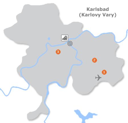 Karte mit Pensionen und anderen Unterkünften in Karlsbad