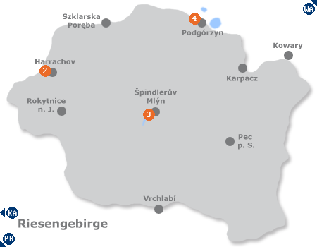 Karte mit Pensionen und anderen Unterkünften im Riesengebirge