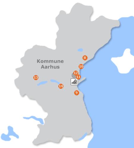 Karte mit Pensionen und anderen Unterkünften in Århus