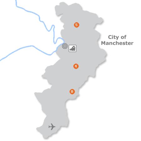 Karte mit Pensionen und anderen Unterkünften in Manchester