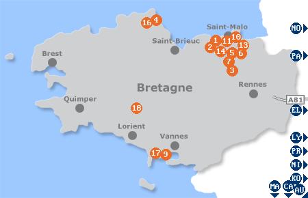 Karte mit Pensionen und anderen Unterkünften in der Bretagne