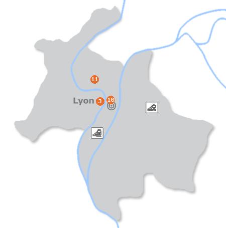 Karte mit Pensionen und anderen Unterkünften in Lyon