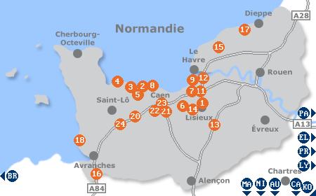 Karte mit Pensionen und anderen Unterkünften in der Normandie
