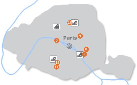 Karte mit Pensionen und anderen Unterkünften in Paris