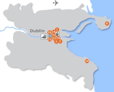 Karte mit Pensionen und anderen Unterkünften in Dublin
