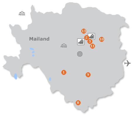Karte mit Pensionen und anderen Unterkünften in Mailand