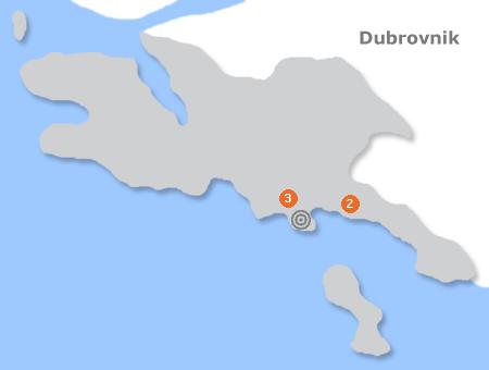 Karte mit Pensionen und anderen Unterkünften in Dubrovnik