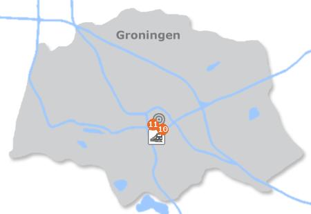 Karte mit Pensionen und anderen Unterkünften in Groningen