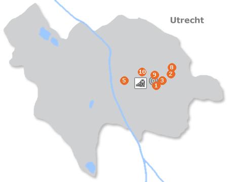 Karte mit Pensionen und anderen Unterkünften in Utrecht