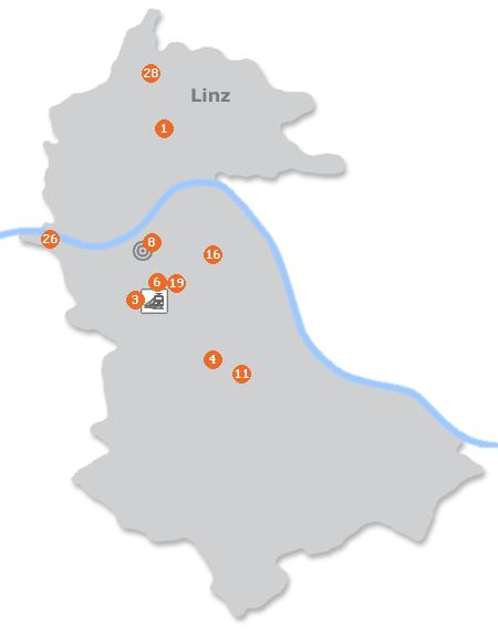 Karte mit Pensionen und anderen Unterkünften in Linz
