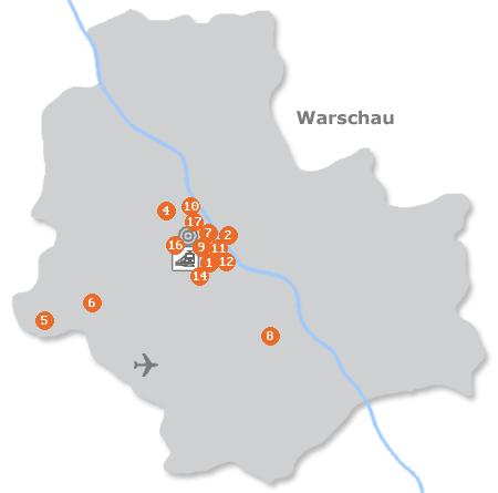 Karte mit Pensionen und anderen Unterkünften in Warschau