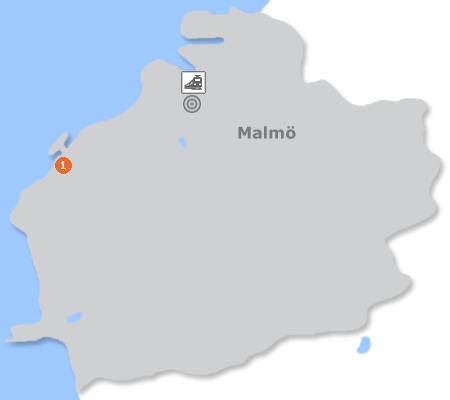 Karte mit Pensionen und anderen Unterkünften in Malmö