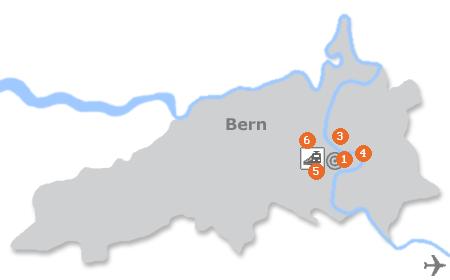 Karte mit Pensionen und anderen Unterkünften in Bern