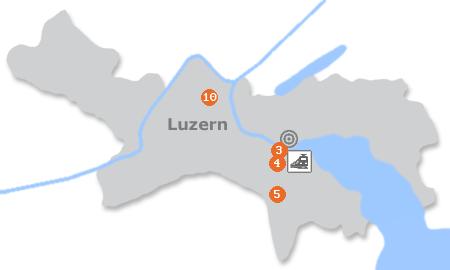 Karte mit Pensionen und anderen Unterkünften in Luzern