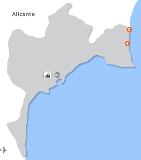 Karte mit Pensionen und anderen Unterkünften in Alicante