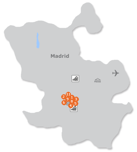Karte mit Pensionen und anderen Unterkünften in Madrid
