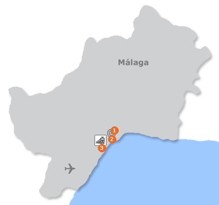 Karte mit Pensionen und anderen Unterkünften in Málaga