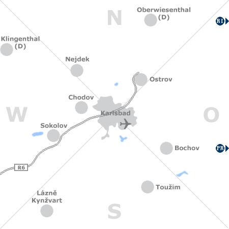 Karte mit Pensionen und anderen Unterkünften rund um Karlsbad