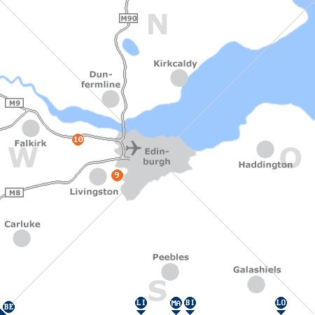 Karte mit Pensionen und anderen Unterkünften rund um Edinburgh