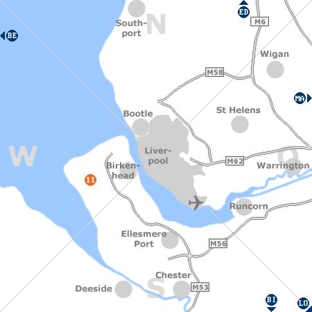 Karte mit Pensionen und anderen Unterkünften rund um Liverpool