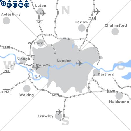 Karte mit Pensionen und anderen Unterkünften rund um London