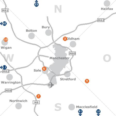 Karte mit Pensionen und anderen Unterkünften rund um Manchester