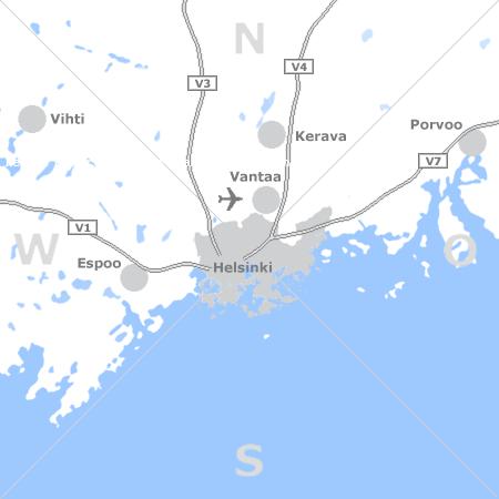Karte mit Pensionen und anderen Unterkünften rund um Helsinki