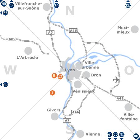 Karte mit Pensionen und anderen Unterkünften rund um Lyon