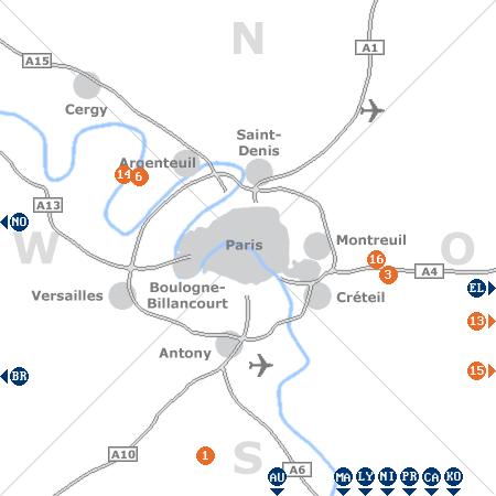 Karte mit Pensionen und anderen Unterkünften rund um Paris