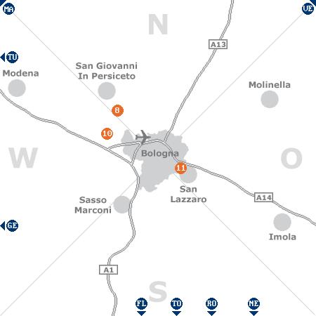 Karte mit Pensionen und anderen Unterkünften rund um Bologna