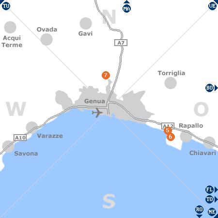Karte mit Pensionen und anderen Unterkünften rund um Genua